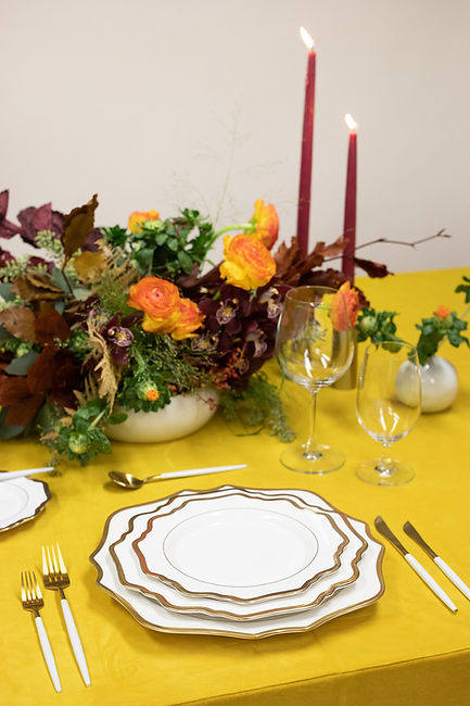 Bright table setting for thanksgiving