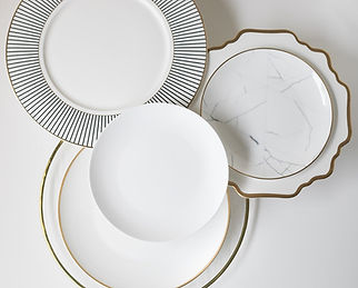 White and gold plates miami