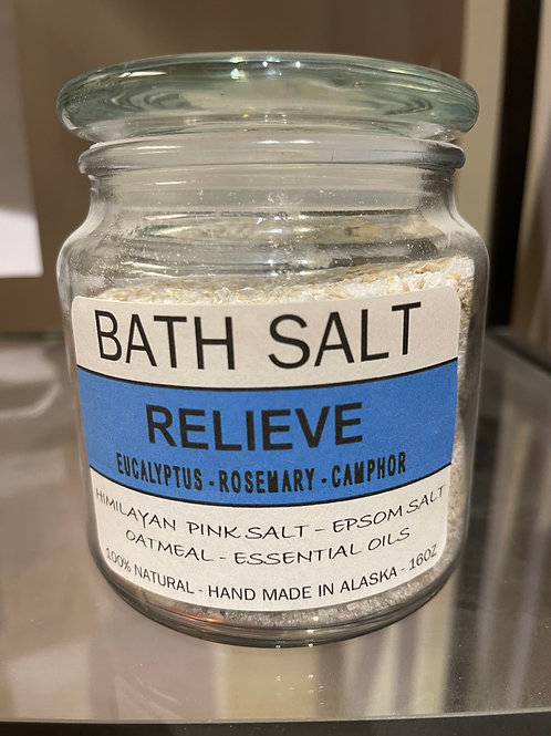 Bath Salt - Relieve (Eucalyptus, Rosemary & Camphor