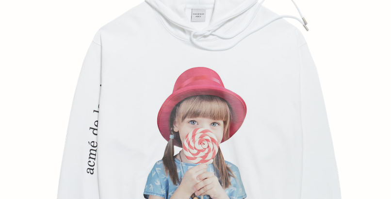 BABY FACE HOODIE WHITE RED HAT
