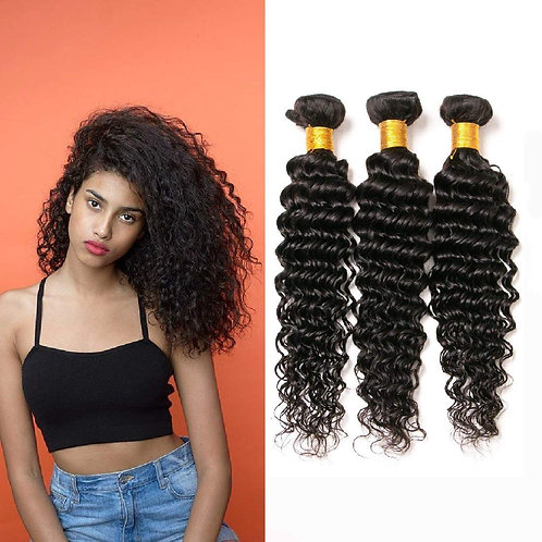 "10 A-Grade Virgin Brazilian Deep Waves 10"" to 28"" - 3 Bundles"