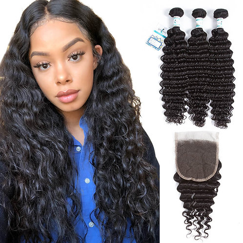 "Closure - 8A-Grade Virgin Brazilian Hair | Deep Wave - 10"" to 18"""