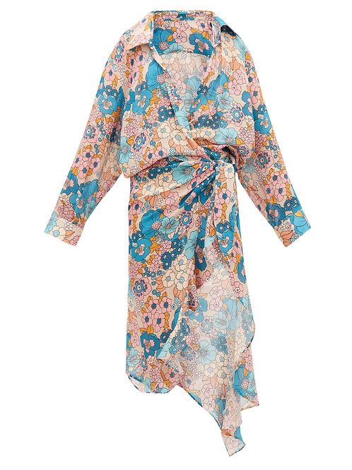 DODO BAR OR Vivi floral-print waterfall-wrap cotton dress