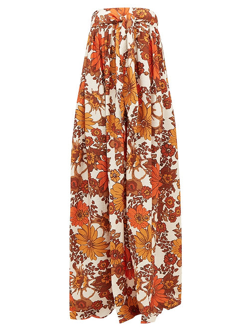 DODO BAR OR Zaza floral-print pleated strapless maxi dress