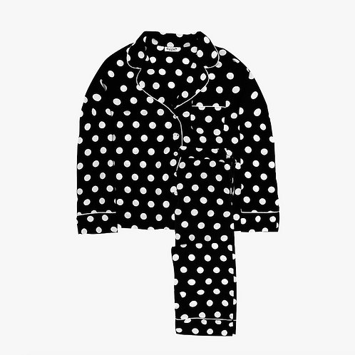 Dots on Coal Pajama Set with Pants