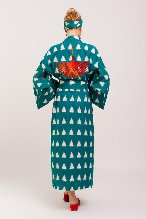 Kleed Kimonos Coral Crane Kimono