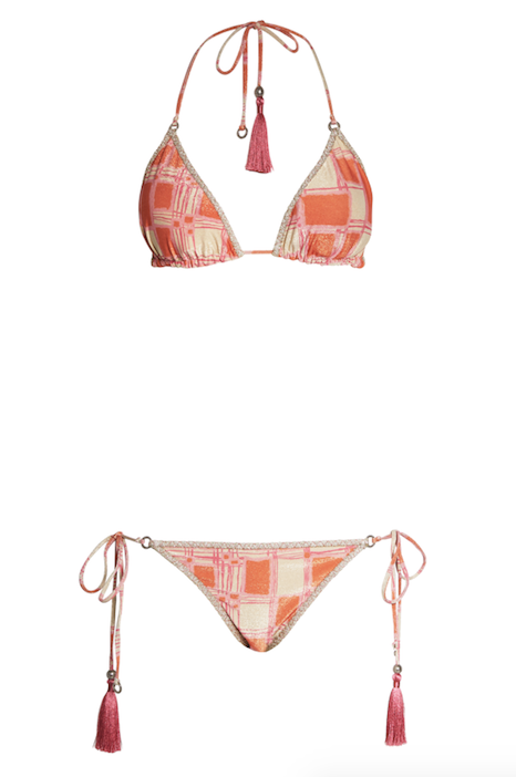 3ae5deec50ccb Chequered triangle bikini in shimmering warm nuances, bordered with cream  glitter. Silver HANNE BLOCH rings and beads with pink tassels. Removable  padding