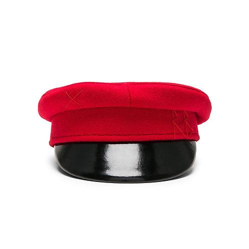 Ruslan Baginskiy red wool baker boy cap