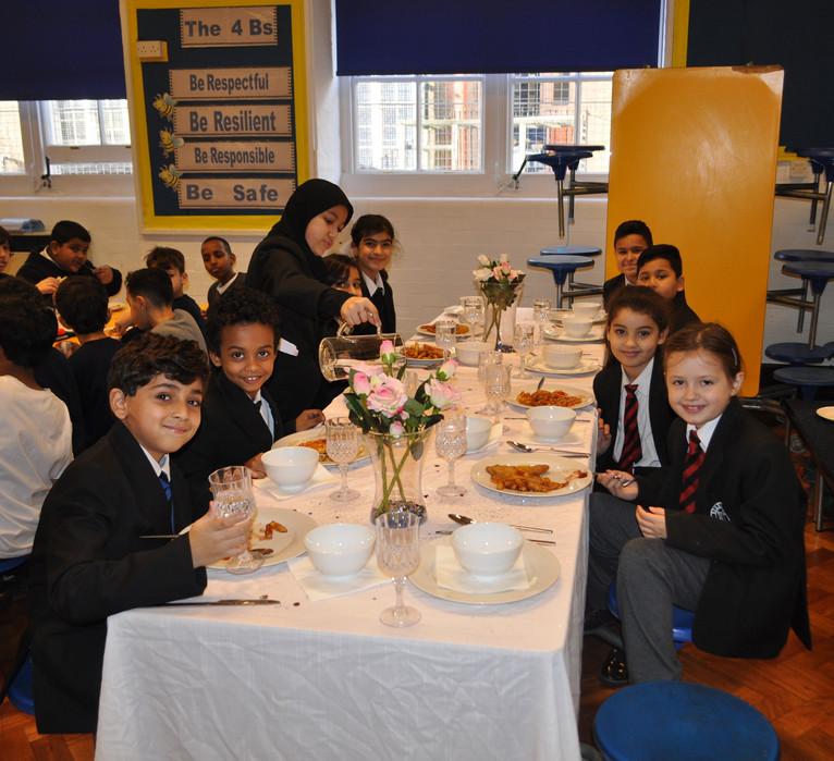 Pupils enjoying the Golden Table!