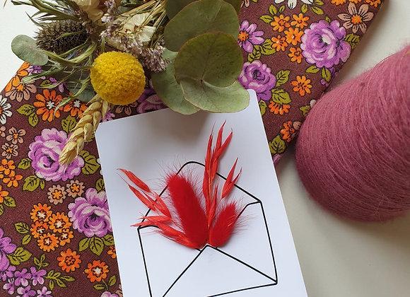 Carte Fleurie Je t'aime rouge