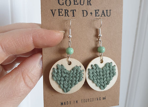 Boucles d'oreilles Coeur Vert d'eau