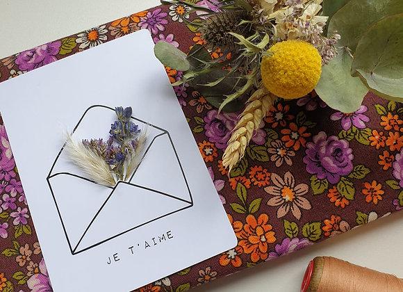 Carte Fleurie Je t'aime violet