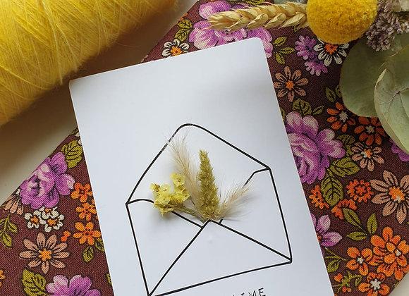 Carte Fleurie Je t'aime jaune