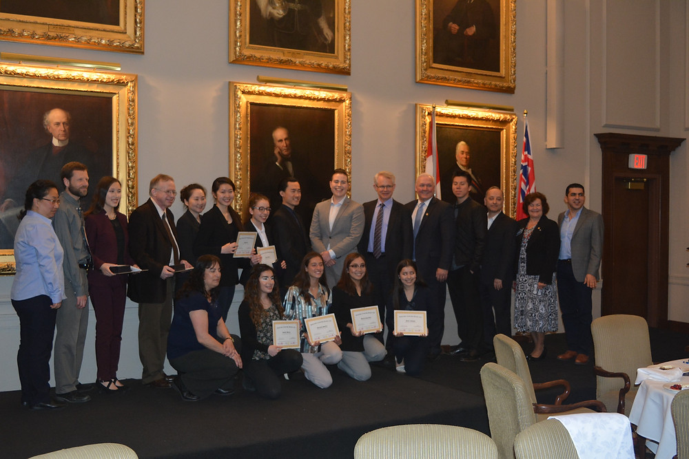 The finalists with Rotarians and Rotaractors from the Rotary Club and Rotaract Club of Toronto