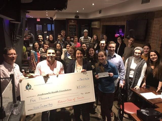 The Rotaract Club of Toronto presented a cheque to Anishnawbe Health Foundation, with funds raised through the club's Cocktail Party Fundraiser in February.