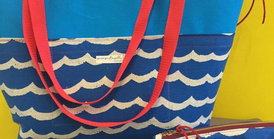 Large Tote - Blue Waves
