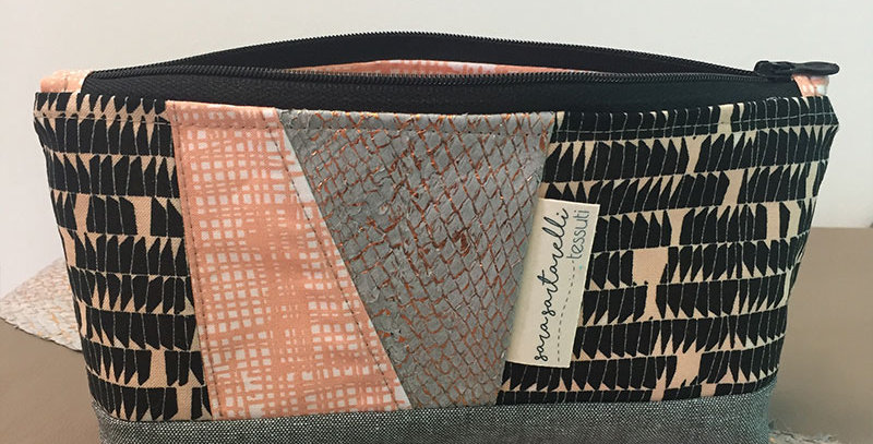 Cosmetic Bag - Peach & Black