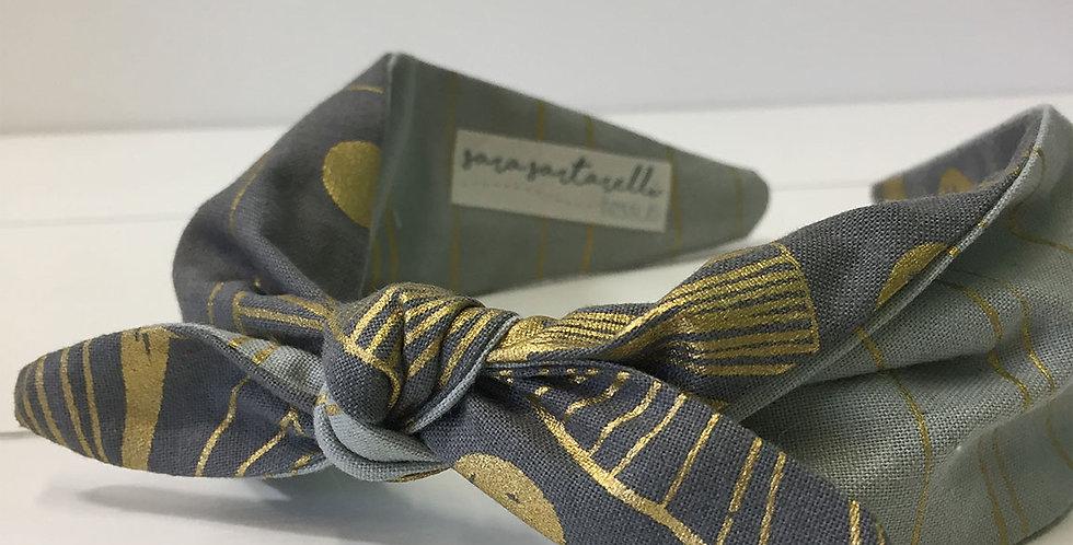 Headband - Grey & Gold