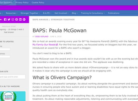 Bringing Us Together Writes Article On BAPS Awarded To Paula McGowan