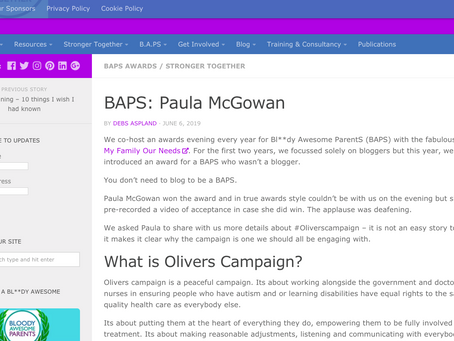 Bringing Us Together Writes Article On BAPS Awarded To Paula McGowan