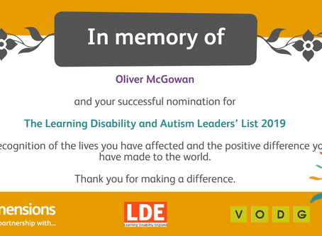 The Learning Disability and Autism Leaders' List 2019 Certificate