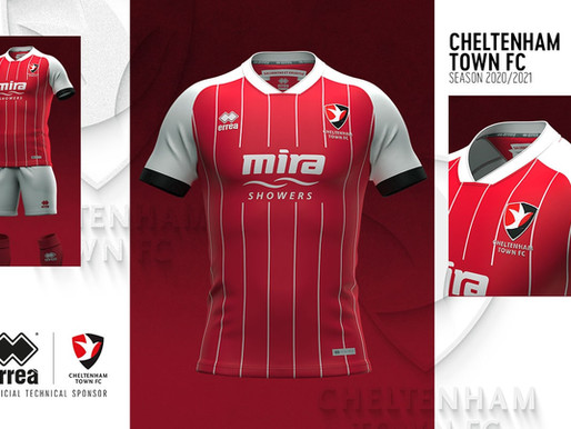 CHELTENHAM TOWN FC: THE NEW HOME STRIP DESIGNED BY ERREÀ SPORT