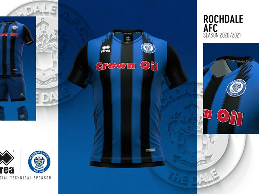 TRADITION, MODERNITY AND A RETRO IDEA FOR THE NEW OFFICIAL ROCHDALE A.F.C. 2020-2021 KITS
