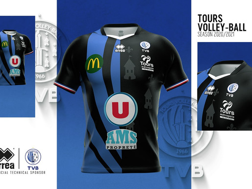 THE PATTERN OF THE NEW CLUB LOGO ALL OVER THE SHIRT: THE NEW TOURS VOLLEY-BALL KITS UNVEILED