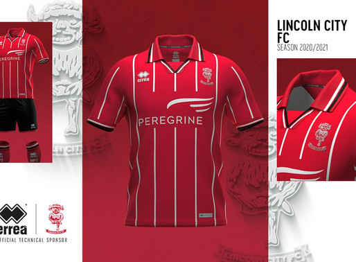 THE TRADITIONAL VERTICAL STRIPES FOR THE NEW LINCOLN CITY FC 2020-2021 HOME SHIRT
