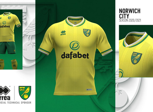 STYLE ON THE PITCH: ERREÀ SPORT AND NORWICH CITY F.C. UNVEIL THE NEW HOME KIT FOR SEASON 2020-2021