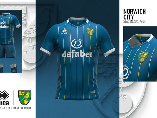 PETROL SHADE AND SOPHISTICATED PINSTRIPES FOR THE 2020-2021 NORWICH CITY AWAY SHIRT