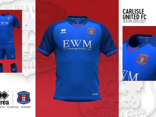 THE NEW ERREÀ STRIP FOR CARLISLE UNITED F.C. WITH AN UNDERSTATED AND ELEGANT FEEL