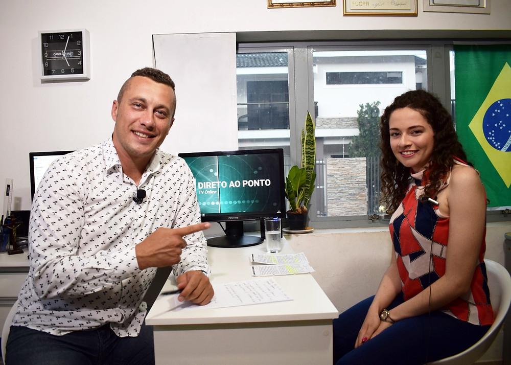 Sergio Henrique e Milena Reis durante gravação do programa
