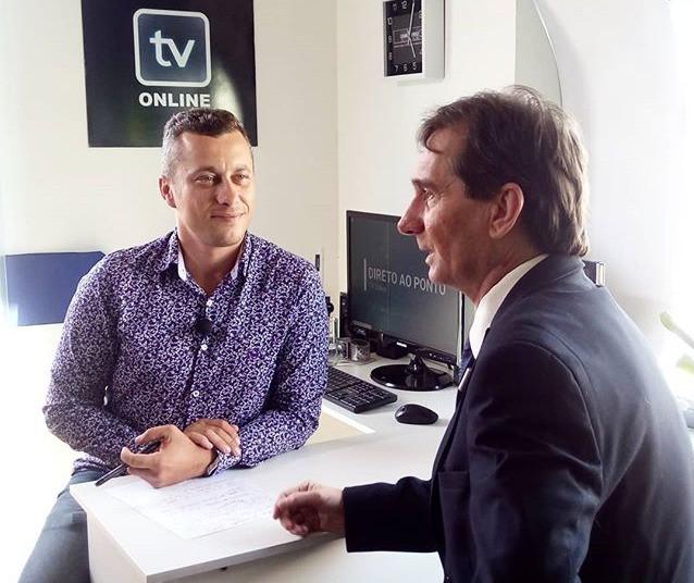 Valcir Machado e Sergio Henrique durante gravação na TV Online