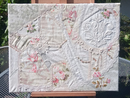 How I up-cycled a linen tablecloth and bits of antique lace into a gorgeous crazy patchwork piece