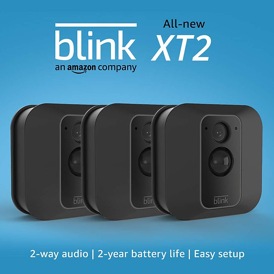 All-new Blink XT2 Outdoor/Indoor Smart Security Camera with cloud storage included, 2-way audio, 2-year battery life – 3 came