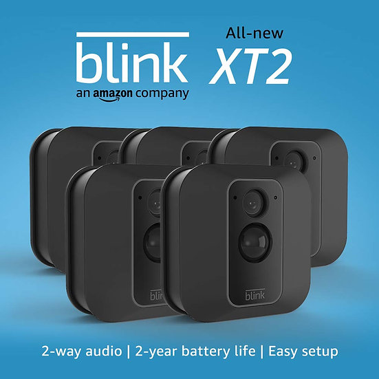 All-new Blink XT2 Outdoor/Indoor Smart Security Camera with cloud storage included, 2-way audio, 2-year battery life – 5 came