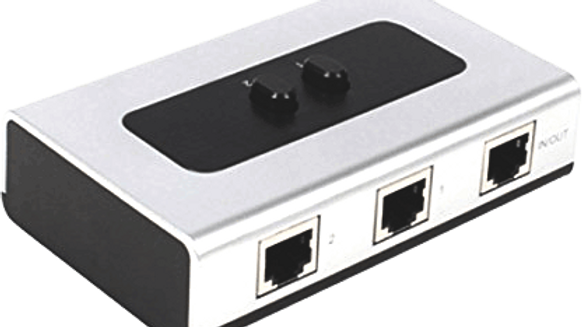 2-Port Gigabit Ethernet RJ45 Network Port Splitter Selector Box 100M/1000M