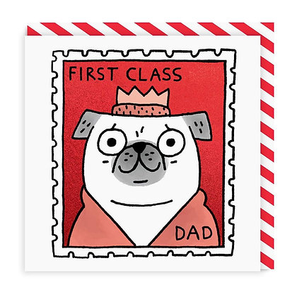 First Class Dad - Pug fathers day greeting card