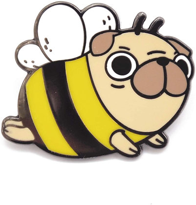 Pug Bee Enamel Pin Brooch Badge