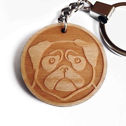 Wooden Laser Cut Pug Keyring