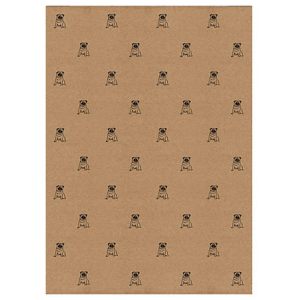 Pug Wrapping Paper - Handprinted on Kraft Paper by Wrapped by Alice
