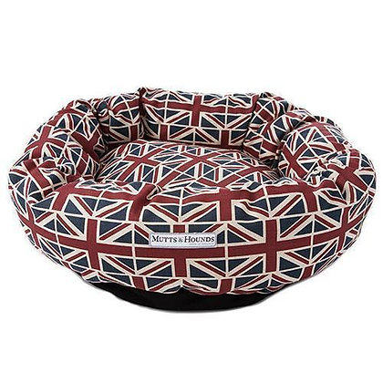 Union Jack Donut Dog Bed - Mutts & Hounds
