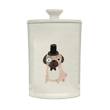 Large Ceramic Treat Jar with Pug Design by Fenella Smith