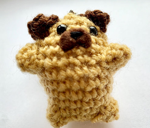 Bean the Pug - Crochet Keyring, handmade by Sarahstitchesstuff