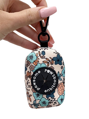 Blue in Bloom Poo Bag Holder design by Pawsome Paws Boutique