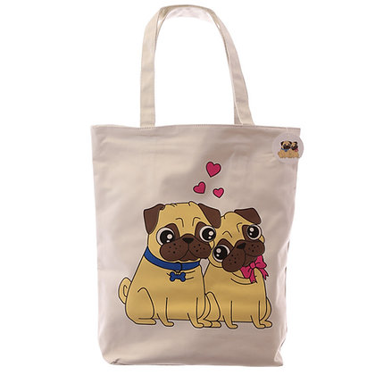 Large Tote Bage - Pug Couple