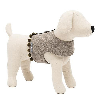 Grey Tweed Soft Dog Harness with Pom Poms Mutts & Hounds(Harrods)