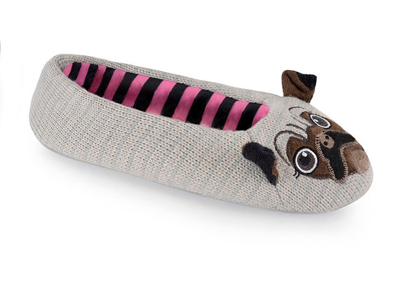 Ladies Knitted Novelty Pug Ballet Slippers