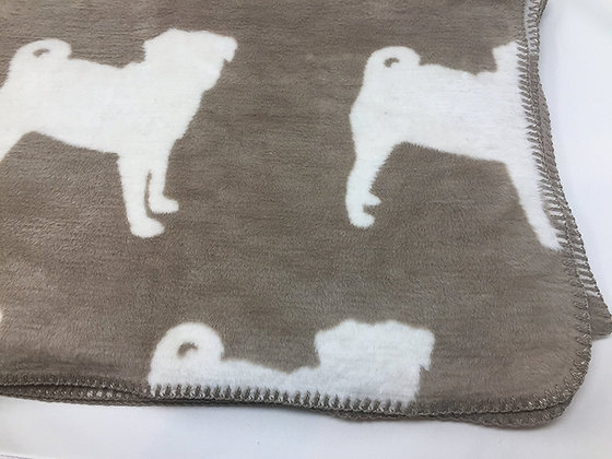 Pug Silhouette Grey Super Soft Large Fleece Throw Blanket